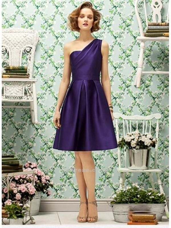 Wedding - A line One Shoulder Knee Length Satin Bridesmaid DressesSKU: BM000088
