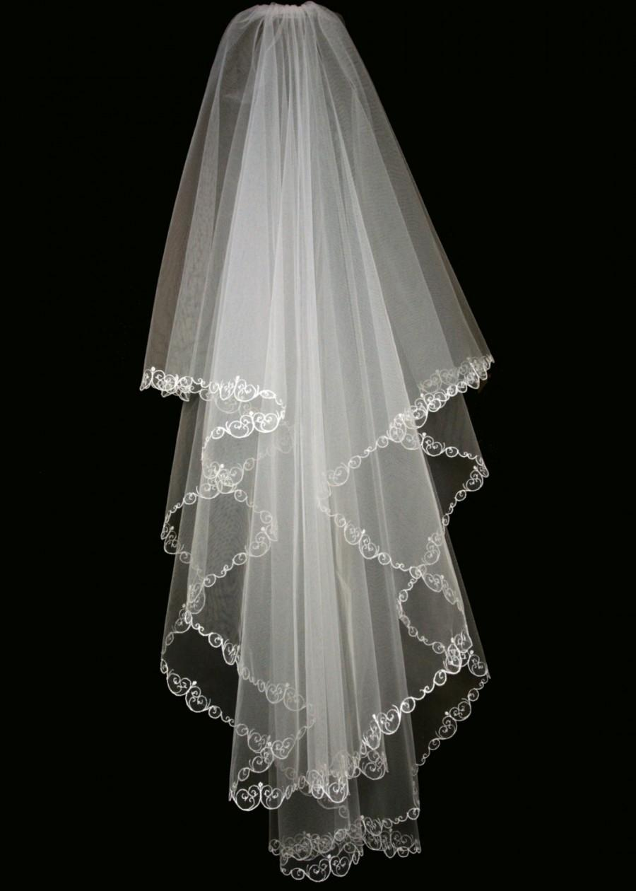 Bridal Veil Tess Wedding Veil With Embroidery Veil