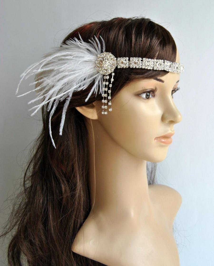 Art Deco 1920s Design The Great Gatsby Flapper Vintage Inspired 1930s Pearl Feather Silver Mettalic Rhinestone