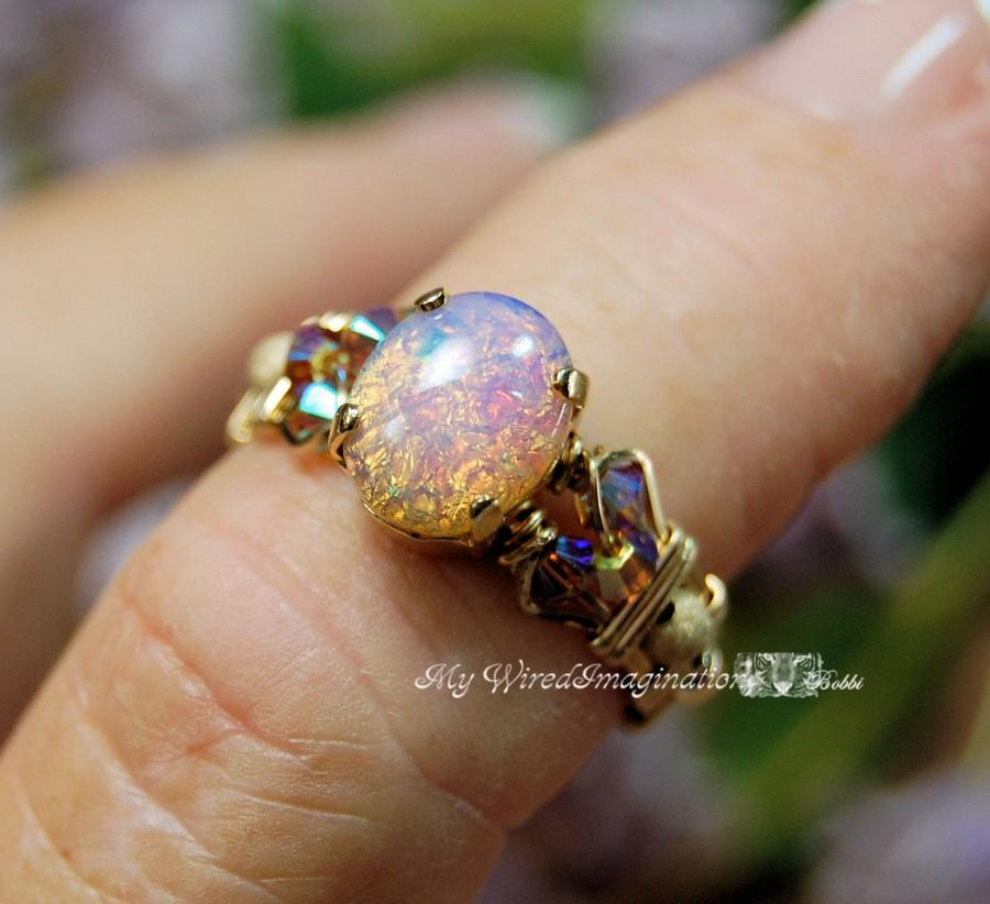 Mariage - Dainty Pink Opal Vintage West German Glass Ring Handmade Wire Wrapped Original Signature Design Fine Jewelry October Birthstone