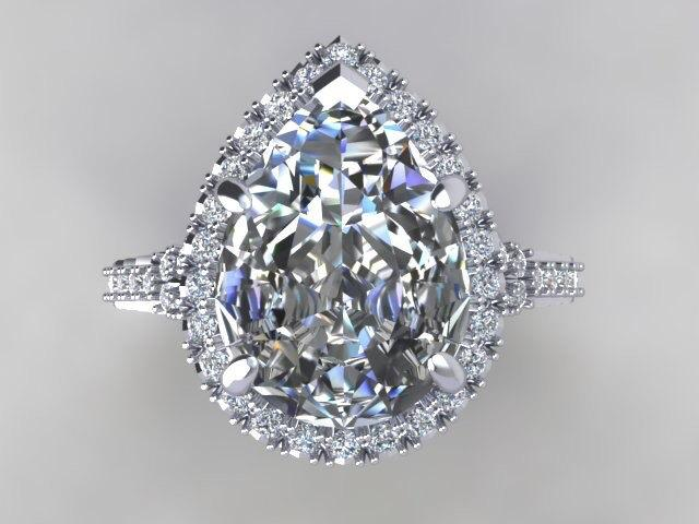 Mariage - Pear Engagement Ring FOREVER BRILLIANT Moissanite Pear Shape 10x7mm 2.10ct Center & .72cttw Natural Diamonds 18kt White Gold Engagement Ring