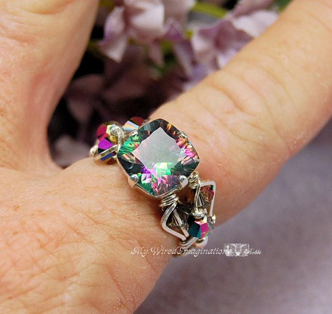 silver topaz sterling natural rainbow item engagement emerald hot wedding rings mystic genuine cut ring fire