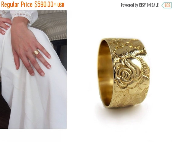 Rose Flower 14k Gold Wedding Band Wide Victorian Ring Solid Engraved Leaves And Flowers For Man Women