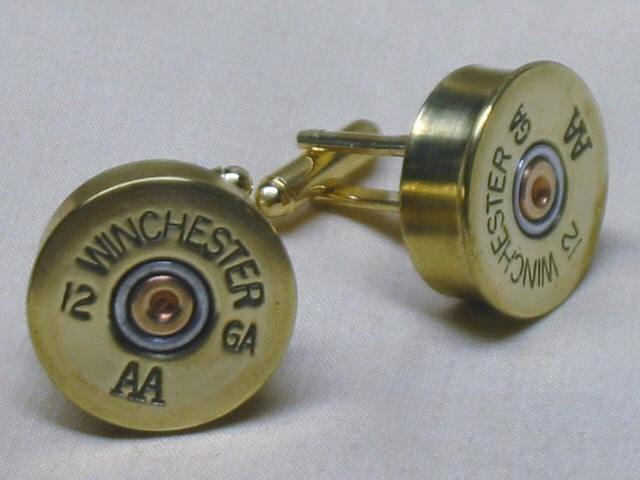 Wedding - Shotgun Shell Cufflinks Winchester AA 12 Ga Brass Gold - Wedding Gift for Groom