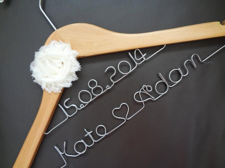 Hochzeit - Personalised Custom made Wedding Wooden Coat Dress Hangers with Flower or Bow -(For Longer Names, Double Decker) - DOUBLE DENISE