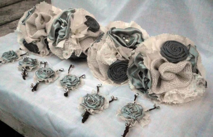"""Wedding - Fabric Flower Bouquet, Bridesmaid, Rustic, Burlap, Country, Vintage, Wedding, Shabby Chic, Lace Rosettes Pearls 6"""""""
