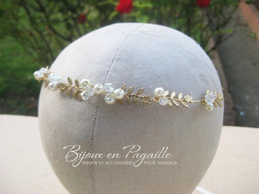 زفاف - Wedding hair accessory - bridal crown headband - leaves and ivory pearls