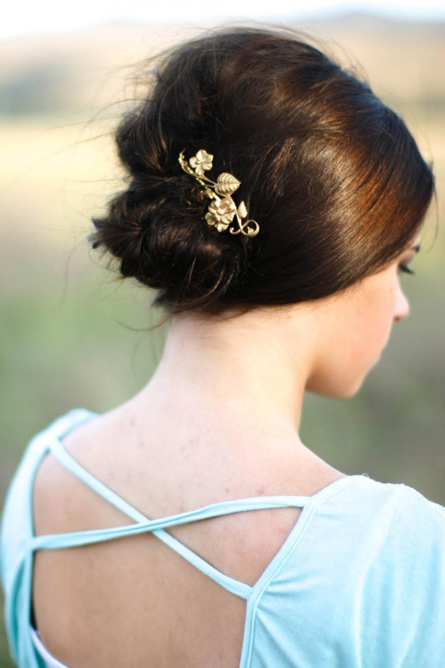 Mariage - Gold Morning Glory Hair Pin Flower Hair Clip Floral Brass Bobby Pin Leaf Hair Accessories  Woodland Chic Flower Bridal Hair Pin