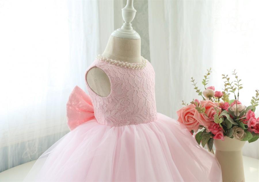 Hochzeit - Designed Baby Pink Sleeveless Toddler Pageant Dress, Baby Birthday Dress for Girls, Baby Tutu 1st Birthday, PD098-1