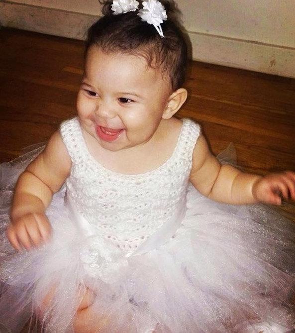 Wedding - White Flower girl tutu dress, toddler tutu dress, crochet tutu dress, baby tutu dress, christening gown