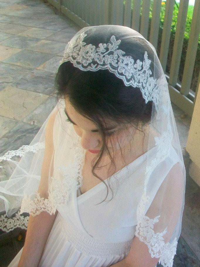 Hochzeit - Alencon Lace Mantilla Veil, Fingertip Length Veil in White, Off-White, Ivory, Beaded Lace Wedding Veil -Crystal Veil, Lace Veil Fingertip