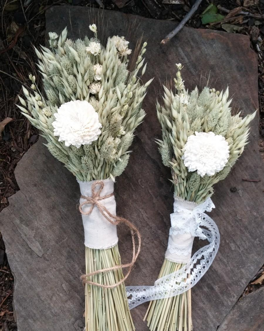 Hochzeit - Spring Meadow Wedding Bouquet- Avena Oats Bouquet, Phalaris Bouquet, Sola Flower Bouquet, Larkspur, Blackbeard Wheat, Lace Fabric, Twine