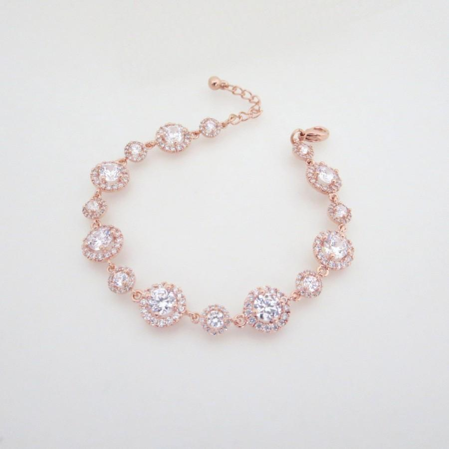 Rose Gold Wedding Bracelet, Crystal Bridal Bracelet, Bridal ...