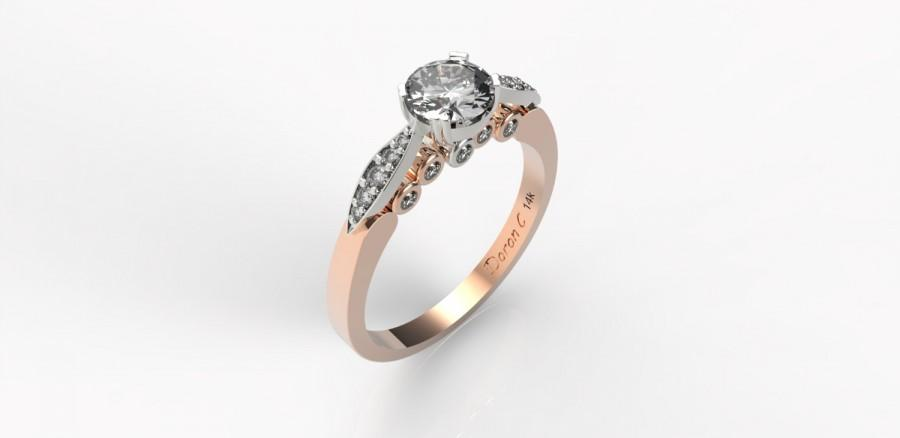 Two Tone Leaves Engagement Ring 14k Gold Ring Rose Gold And Diamond Engagem