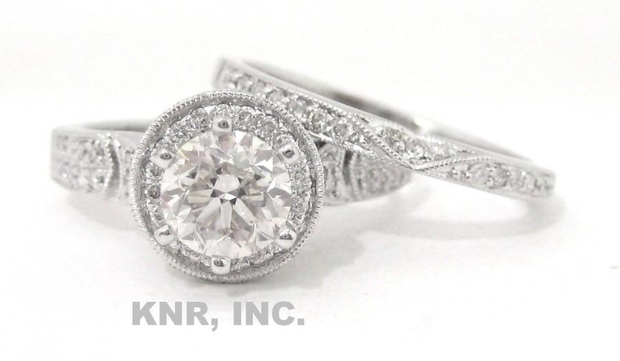 Mariage - Diamond engagement ring and band 18K 1.67ct antique