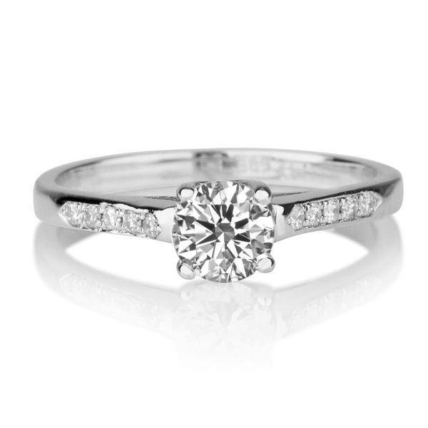 زفاف - Forever Brilliant Moissanite Engagement Ring, 14K White Gold Ring, 0.6 TCW Moissanite Ring, Unique Engagement Ring