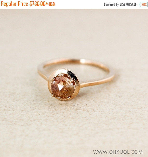 Hochzeit - XMAS SALE Champagne Diamond Engagement Ring - Choose Your Diamond - 10k Rose Gold