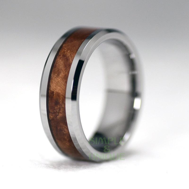8mm Mens Tungsten Wedding Band Mahogany Wood Inlay Wood Ring