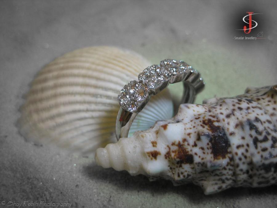 Wedding - Five Stone Ring, Diamond Flower Ring, 14K White Gold Ring, 1.33 CT Diamond Ring, 5 Stone Ring, Art Deco Engagement Ring Size 7
