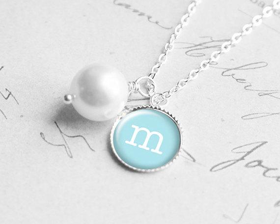 زفاف - Stocking Stuffer, Personalized Initial Necklace, Best Friend Gift, Will You Be My Bridesmaids Gift, Pearl, Monogram Necklace, N160h