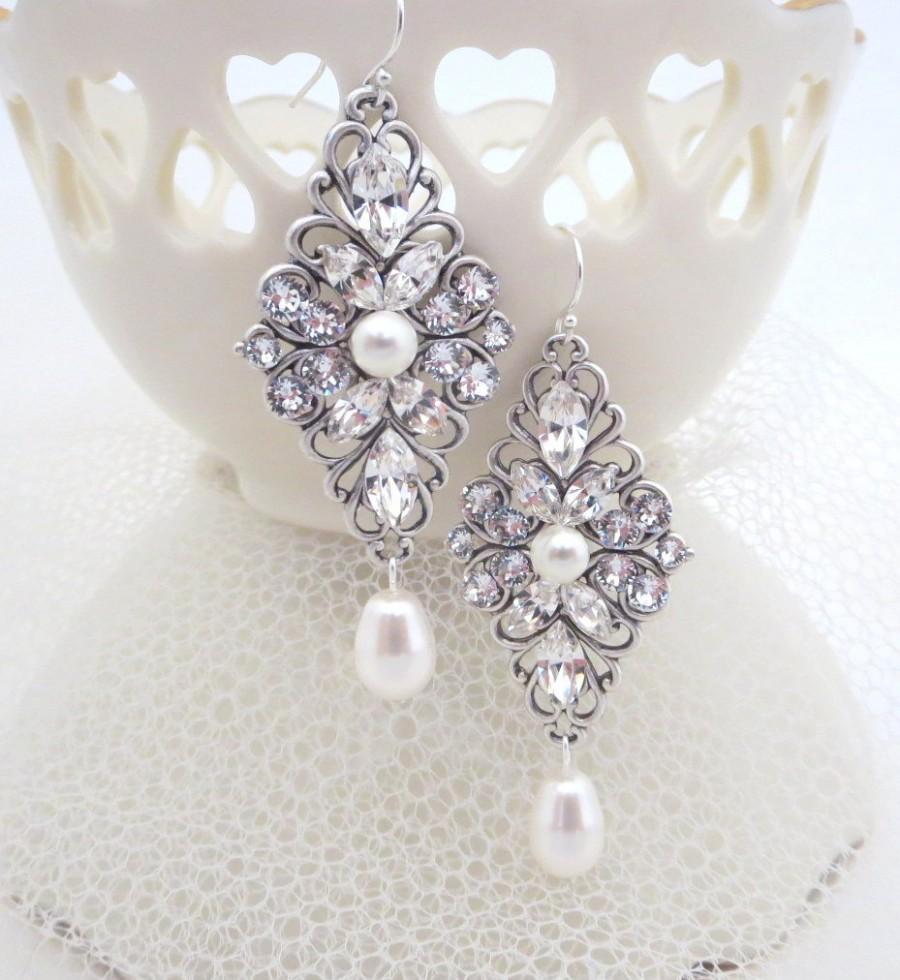 Свадьба - Crystal Wedding earrings, Crystal bridal earrings, vintage style earrings, Swarovski crystals, Swarovski pearls, wedding jewelry