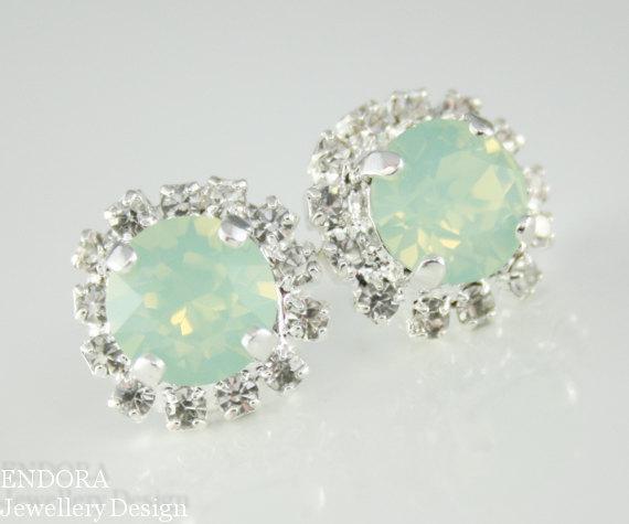 زفاف - mint opal earrings,mint crystal stud earrings, mint bridesmaid earrings,mint stud earrings,swarovski earrings, mint jewelry, mint earrings