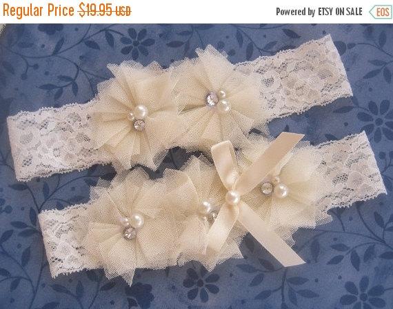 Свадьба - Ivory Bridal Garter Wedding Garter Set with Toss Garter Tulle flowers and embellishments