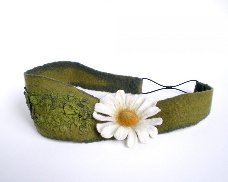 Mariage - Daisy Flower Headband Bohemian Floral Hairband Womens Moss Green Felt Head Band Eco Friendly Hair Accessory Ready to Ship Now