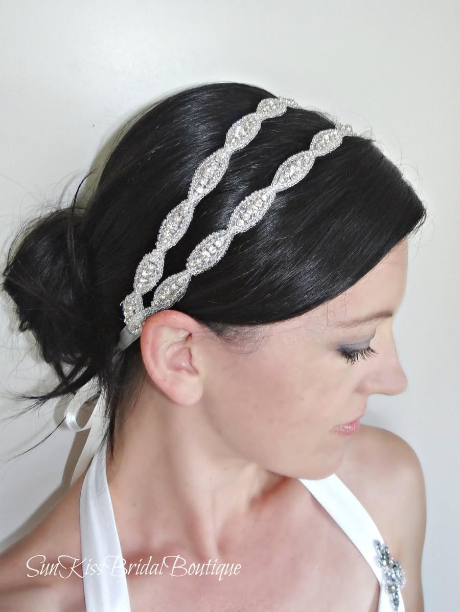 Hochzeit - LUCY Double Crystal Bridal Headband,Rhinestones,Beaded Headpiece