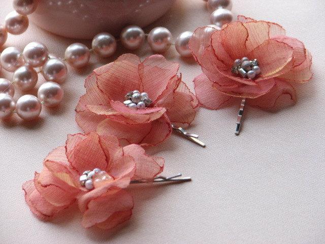 زفاف - Coral Hair Flower Coral Hair Pink Coral Hair Clips 3 Coral Hair Flowers Pink Coral Gift Bridal Coral Pink Hair Flowers Coral Pink Flowers