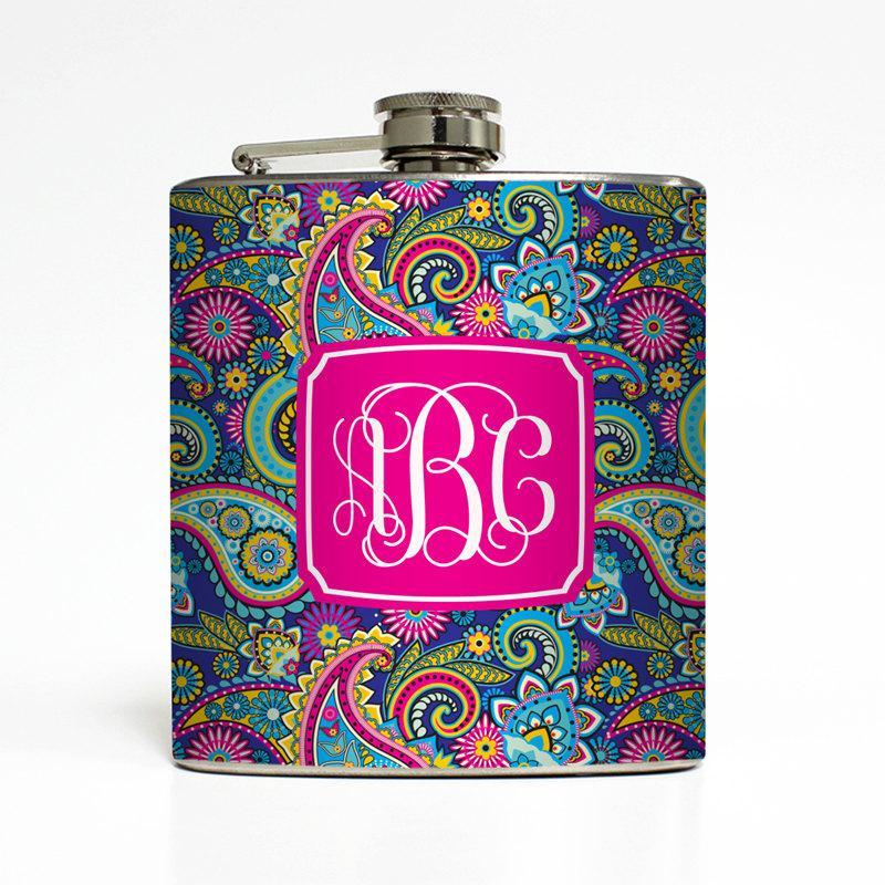 Свадьба - Custom Flask Personalized Blue Paisley Monogram Custom Name Initial 21st Birthday Women Gifts Stainless Steel 6 oz Liquor Hip Flask LC-1460