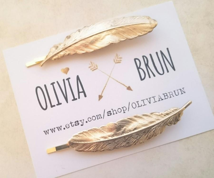 زفاف - Feather Bobby Pins Gold Feather Hair Pins Bird Feather Hair Clips Woodland Wedding