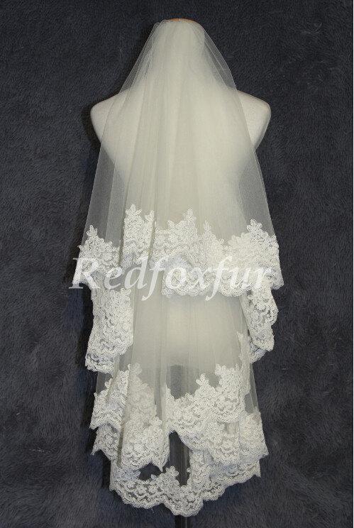 زفاف - 1 tier Bridal Veil Lace veil White or ivory Chapel veil Alencon lace veil 1.5m length Wedding dress veil Wedding Accessories No comb