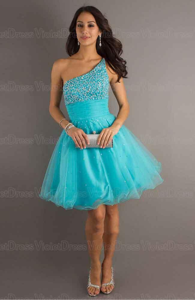A-line One Shoulder Paillette Blue Sleeveless Short Tulle Prom ...
