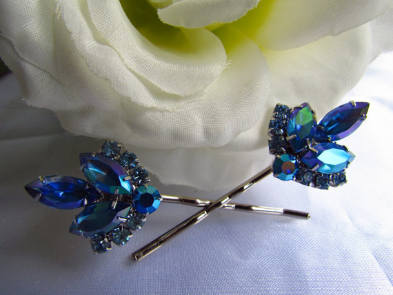 Wedding - Sapphire Blue Bridal Hair Comb,Blue Bridal Hair Accessories, Blue Wedding Hair Pins, Blue Wedding Hair Comb, Blue Wedding Hair Accessories