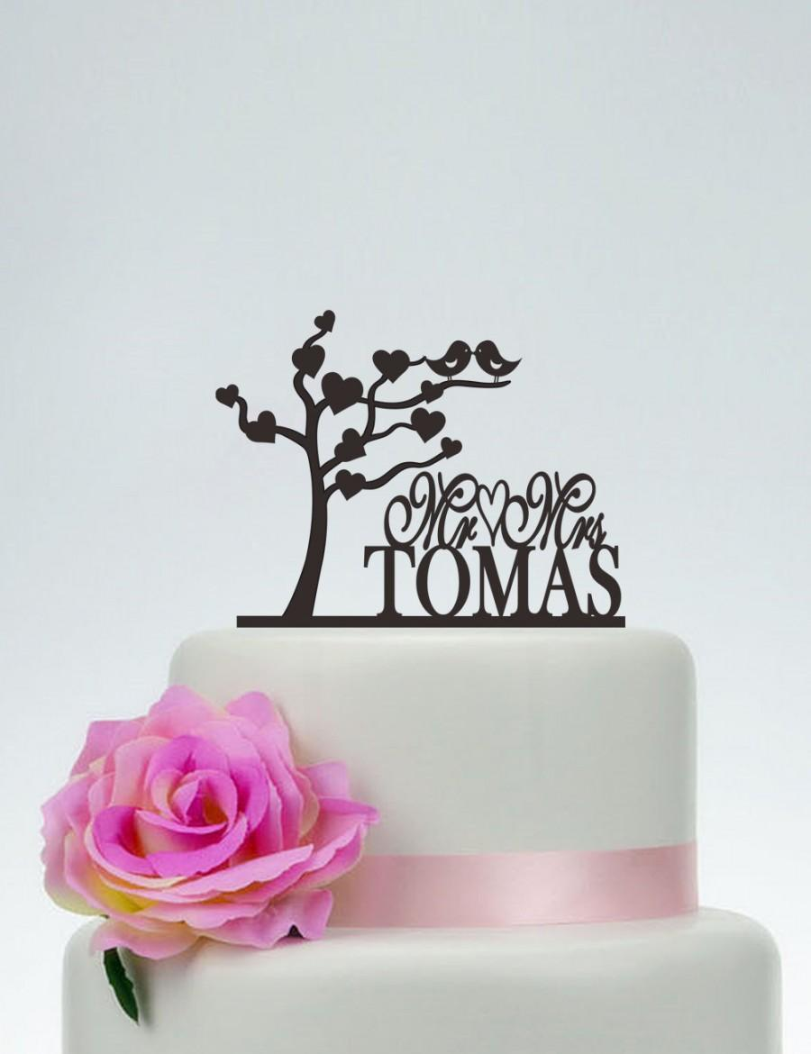 Mariage - Love Tree Cake Topper,Love Birds Topper,Mr And Mrs Cake Topper With Last Name,Custom Cake Topper,Wedding Cake Topper,Party Cake Topper C093