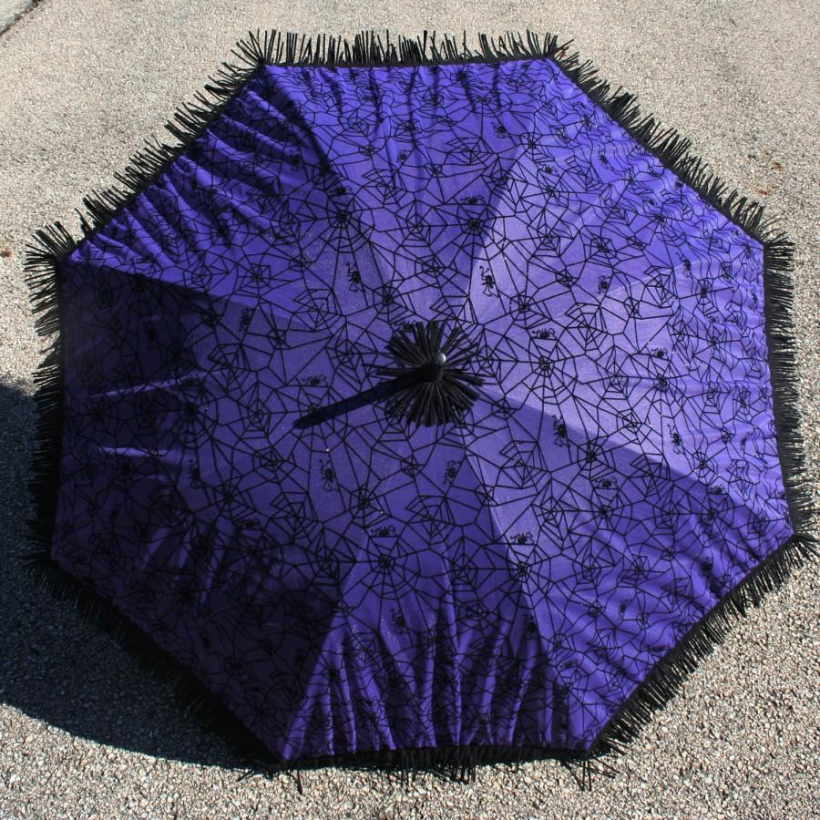 Wedding - Purple Goth Parasol Lolita Fuzzy Black Velvet Spider web Halloween Costume Prop Umbrella Vegan Suede Fringe Steampunk Burlesque Circus