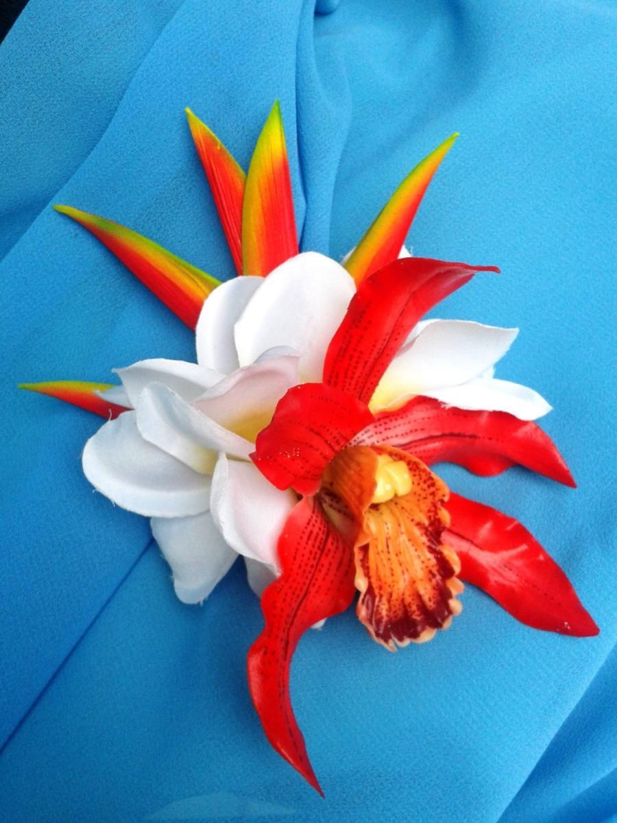 Tropical Bride Hair Flower Hawaiian Orchid Plumeria Heliconia
