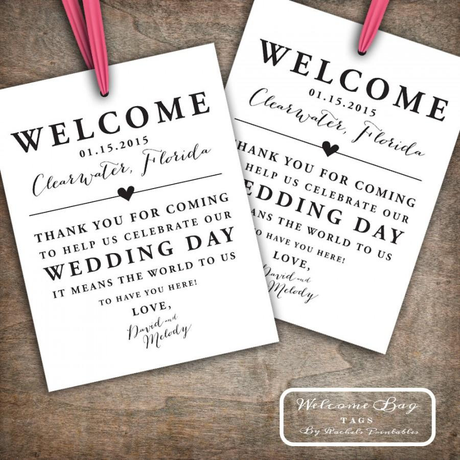 Hochzeit - Custom Printable Wedding Welcome Bag Tags, Labels, Hotel Welcome Bags, Destination Welcome Bags, Thank You Tags, Customizable