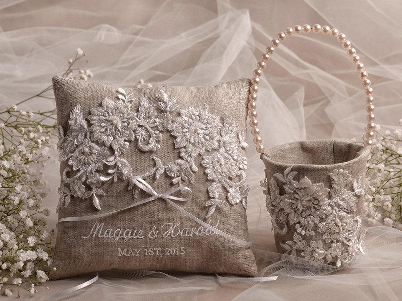 Hochzeit - Flower Girl Basket & Ring Bearer Pillow Set, Shabby Chic Natural Linen, Lace Ring Pillow, Embriodery Names