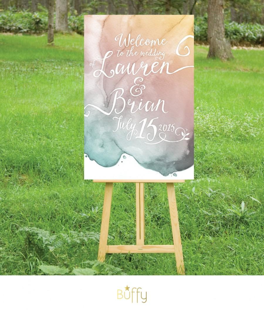 Hochzeit - The LAUREN . Calligraphy & Watercolor Wedding Welcome Sign . Gold Pink Teal Blush Purple Gray .  Party or Birthday Personalized Custom . PDF