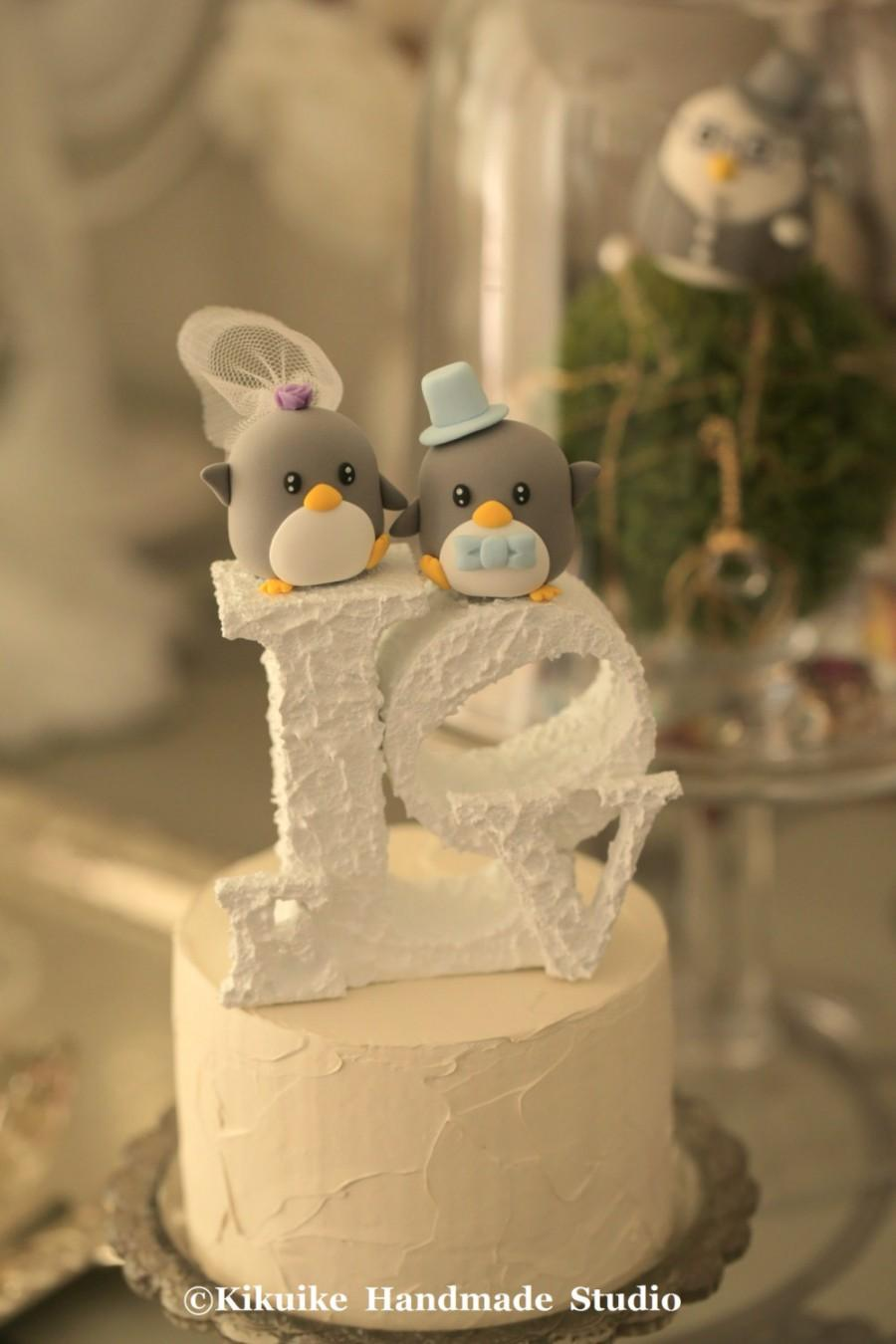 Hochzeit - Penguins  Wedding Cake Topper (K429)