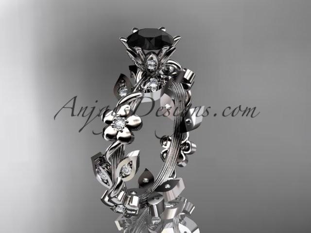 Mariage - platinum diamond leaf and vine engagement ring with a Black Diamond center stone ADLR209