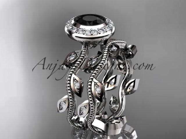 Hochzeit - 14k white gold diamond leaf and vine wedding ring, engagement ring, engagement set with a Black Diamond center stone ADLR212S