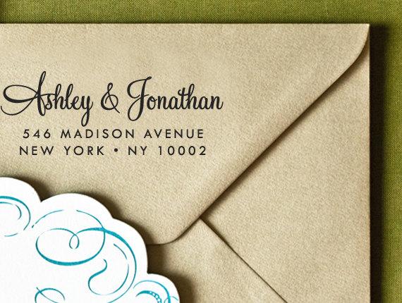 "Hochzeit - CUSTOM ADDRESS STAMP - Eco Friendly & self inking return address stamp, personalized stamper,  custom rsvp address stamp ""calligraphy 124"""