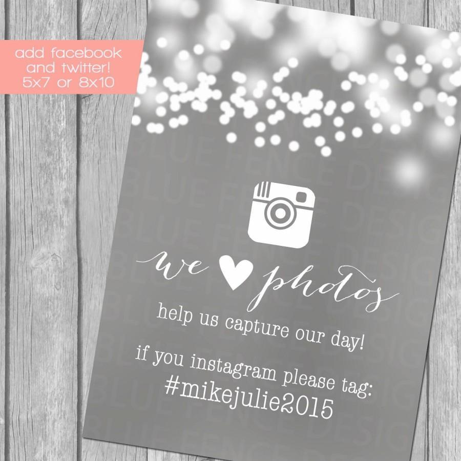 Hochzeit - Bubble Lights Social Media Wedding Sign, twitter, facebook, instagram, reception, hashtag
