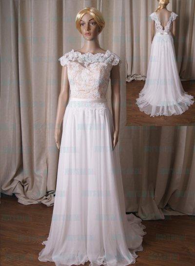 LJ223 Sexy Illusion Lace Open V Back Flowy Chiffon Bridal Wedding Dress 2430118