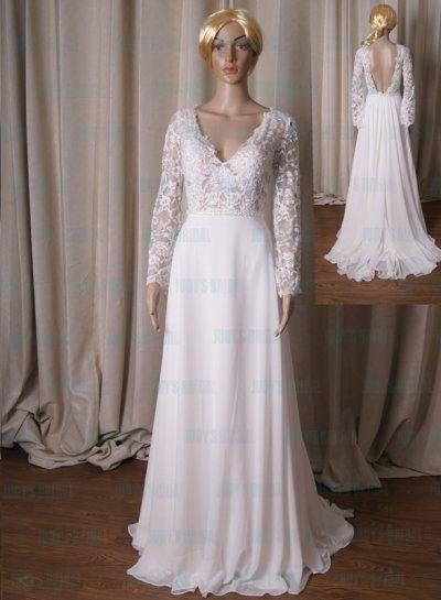 Wedding - LJ224 Semi see through long sleeves lace with chiffon skirt wedding dress