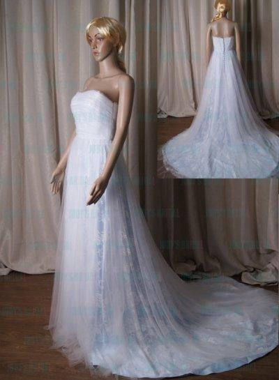 Wedding - LJ221 Romance white with blue lace tulle a line 2015 wedding dress