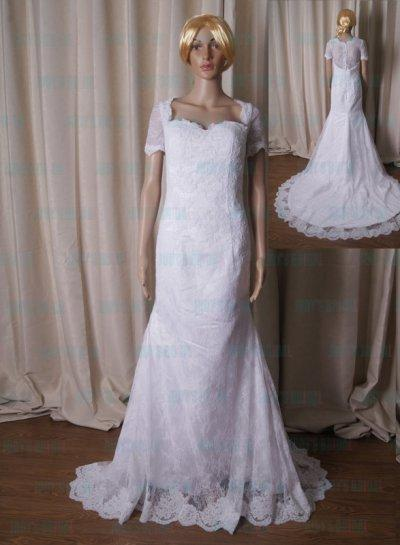 Hochzeit - LJ218 Modest illusion french lace back white mermaid wedding dress